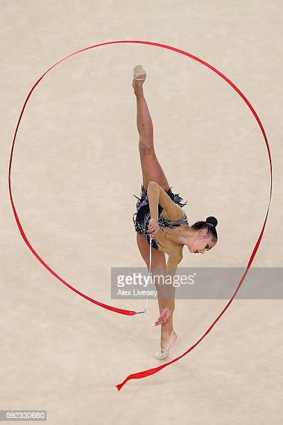Margarita Mamun of Russia competes during the Women's Individual All-Around Rhythmic Gymnastics Final on Day 15 of the Rio 2016 Olympic Games at the...