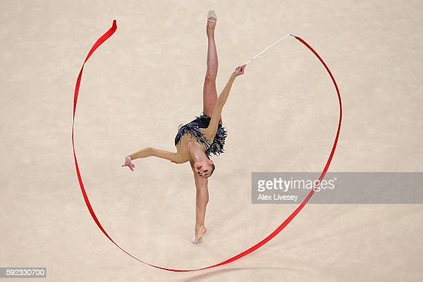 Margarita Mamun of Russia competes during the Women's Individual AllAround Rhythmic Gymnastics Final on Day 15 of the Rio 2016 Olympic Games at the...