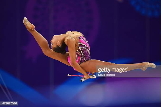 Margarita Mamun of Russia competes in the Women's Rhythmic Gymnastics AllAround Individual Final during day seven of the Baku 2015 European Games at...