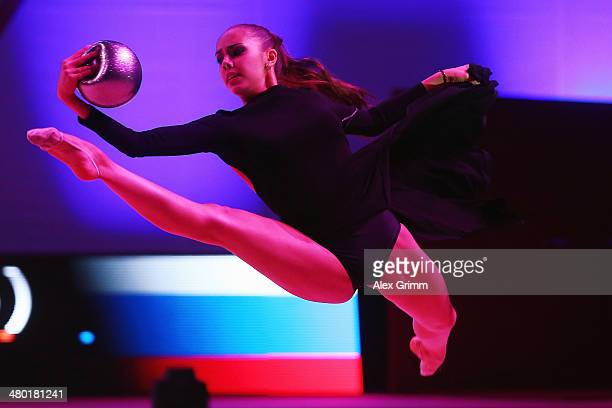 Margarita Mamun of Russia performs during the 'enjoy your rhythm' gala at the GAZPROM World Cup Rhythmic Gymnastics 2014 at the Porsche Arena on...