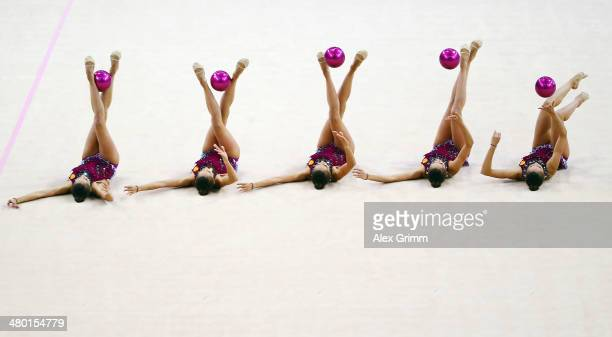 Margarita Mamun of Russia performs during the individual ball final of the GAZPROM World Cup Rhythmic Gymnastics 2014 at the Porsche Arena on March...