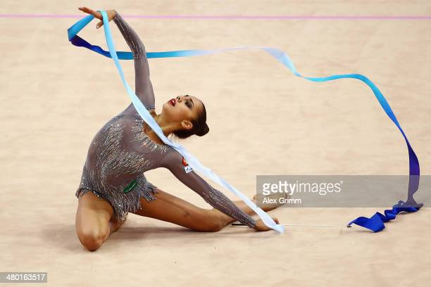 Margarita Mamun of Russia performs during the individual ribbon final of the GAZPROM World Cup Rhythmic Gymnastics 2014 at the Porsche Arena on March...