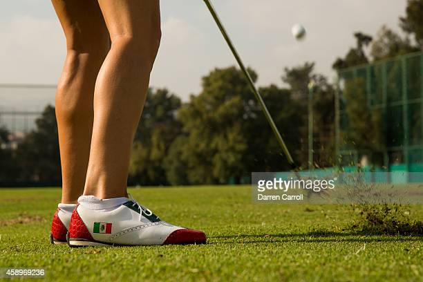 Margarita Ramos of Mexico warms up on the driving range prior to the second round of the 2014 Lorena Ochoa Invitational presented by Banamex at Club...