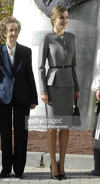 Margarita Salas and Queen Letizia attend Molecular Biology Center 'Severo Ochoa' at Autonoma University on November 20 2015 in Madrid Spain