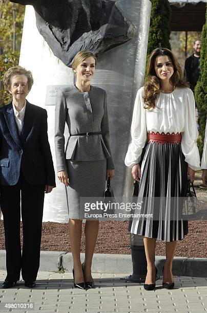 Margarita Salas Queen Letizia and Queen Rania attend Molecular Biology Center 'Severo Ochoa' at Autonoma University on November 20 2015 in Madrid...