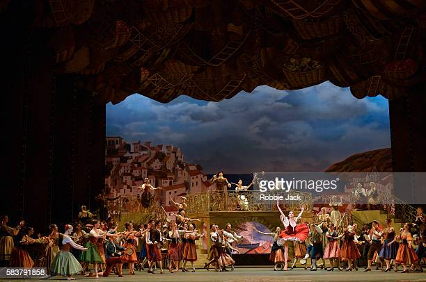 Margarita Shrainer as Kitri with artists of the company in The Bolshoi Ballet's production of Marius Petipa's Don Quixote staged by Alexei Fadeyechev...