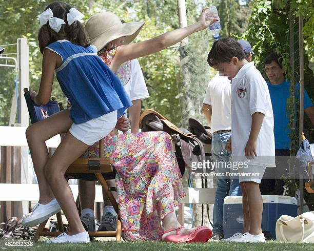 Margarita Vargas and her daughter Eugenia de Borbon and her son are seen on July 29 2015 in Sotogrande Spain