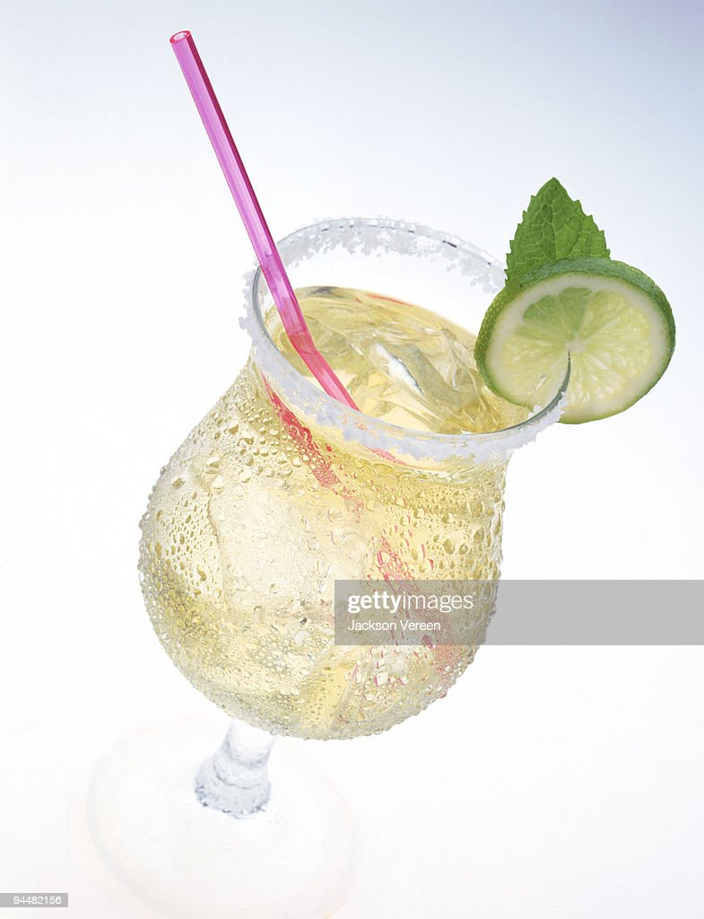 Margarita with lime slice and salt : Stock Photo