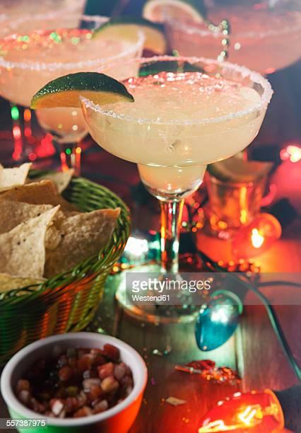 Margarita with salt and nachos, Cinco De Mayo Party