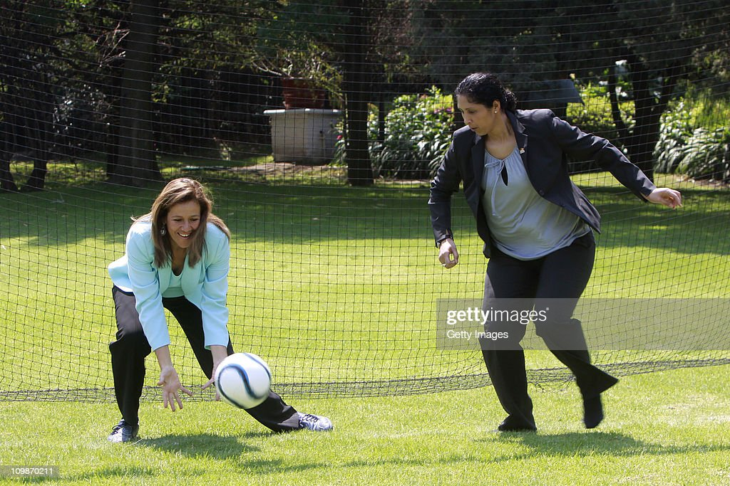Margarita Zavala, first lady of Mexico and Steffi Jones, Organising Committee President's Cup Women's World Cup 2011 meet as part of the Germany 2011 FIFA Women's World Cup delegation Welcome Tour at Residencia Oficial de Los Pinos on March 08, 2011 in Mexico City, Mexico.