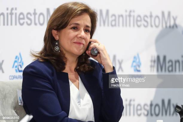 Margarita Zavala Independent party presidential candidate gestures during a conference as part of the 'Dialogues Mexico Manifesto' Event at Hilton...