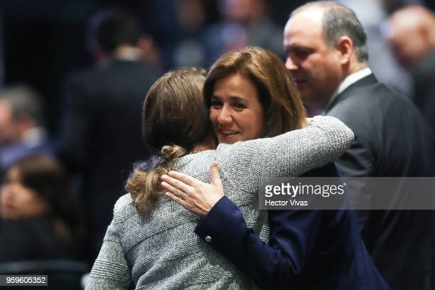 Margarita Zavala Independent party presidential candidate greets a supporter during a conference as part of the 'Dialogues Mexico Manifesto' Event at...