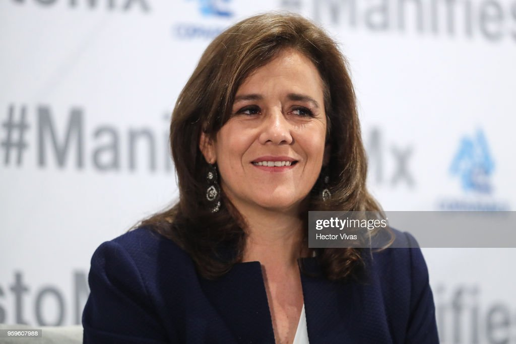 Margarita Zavala, Independent party presidential candidate, smiles during a conference as part of the 'Dialogues: Mexico Manifesto' Event at Hilton Hotel on May 16, 2018 in Mexico City, Mexico.