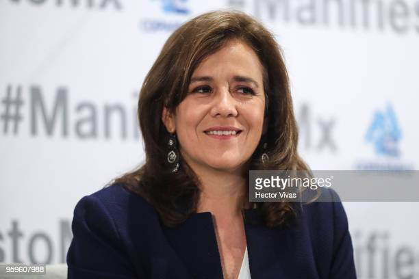 Margarita Zavala Independent party presidential candidate smiles during a conference as part of the 'Dialogues Mexico Manifesto' Event at Hilton...