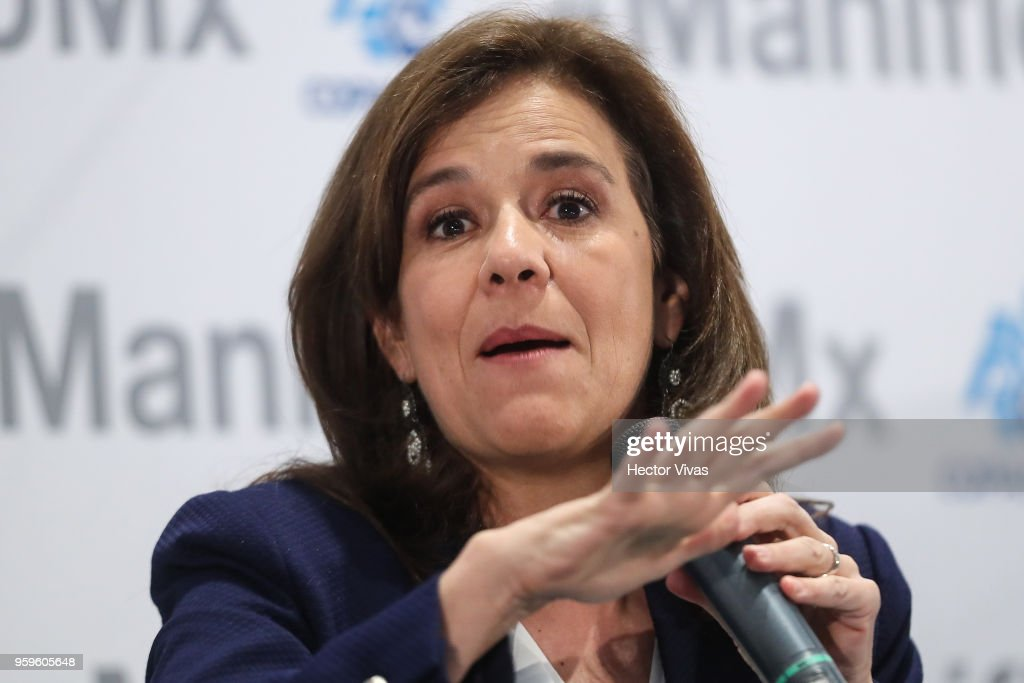 Margarita Zavala, Independent party presidential candidate, speaks during a conference as part of the 'Dialogues: Mexico Manifesto' Event at Hilton Hotel on May 16, 2018 in Mexico City, Mexico.