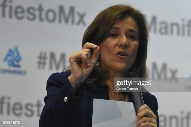 Margarita Zavala Independent party presidential candidate speaks during a conference as part of the 'Dialogues Mexico Manifesto' Event at Hilton...