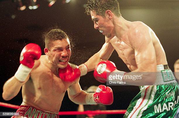 Margarito in green trunks of Tijuana Mexico got his 18th knockout by stopping Antonio Diaz of Coachella California at 217 of the 10th round for the...