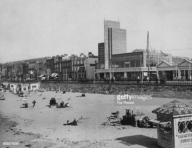 Margate beach with the entrance to the Dreamland amusement park in the background Kent England 1933