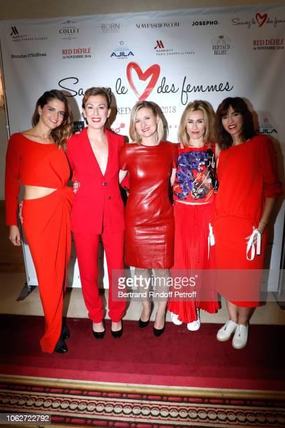 """Margaux de Frouville, Gaetane Meslin, Karine de Menonville, Sandra Larue and Candice Mahout attend the """"Sauvez le Coeur des Femmes - Red Defile"""" Show..."""
