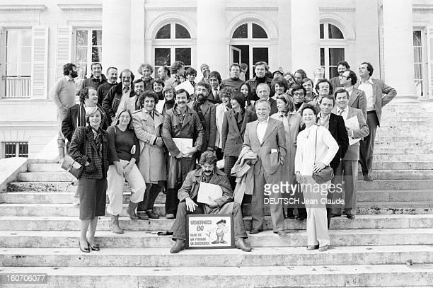 Margaux Hemingway Godmother Of 1980 Vintage Chateau Margaux. Le 20 octobre 1980 en France, devant la propriété Château Margaux, sur des marches : les...