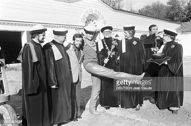Margaux Hemingway Godmother Of 1980 Vintage Chateau Margaux Le 20 octobre 1980 en France invités d'honneur du club de la presse de Bordeaux à la...