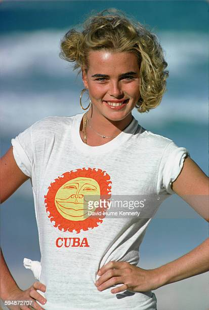 Margaux Hemingway poses for photos in February 1978 in Havana, Cuba.