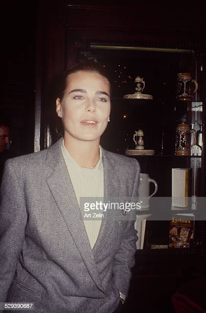 Margaux Hemingway wearing a gray jacket; circa 1970; New York.