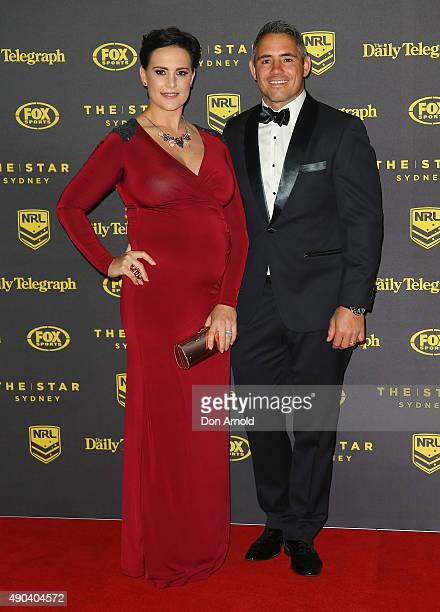 Margaux Parker and Corey Parker arrive at the 2015 Dally M Awards at Star City on September 28 2015 in Sydney Australia