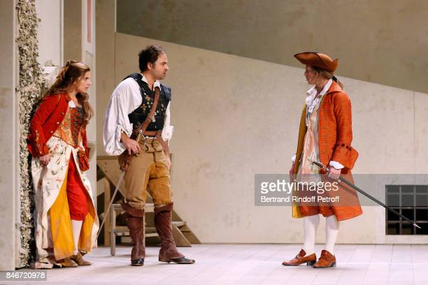 Margaux Van Den Plas Adrien GambaGontard and Thibault Lacroix perform in 'Les Jumeaux Venitiens' Press Theater Play at Theatre Hebertot on September...