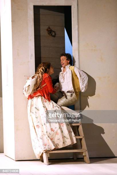 Margaux Van Den Plas and Maxime d'Aboville perform in 'Les Jumeaux Venitiens' Press Theater Play at Theatre Hebertot on September 6 2017 in Paris...