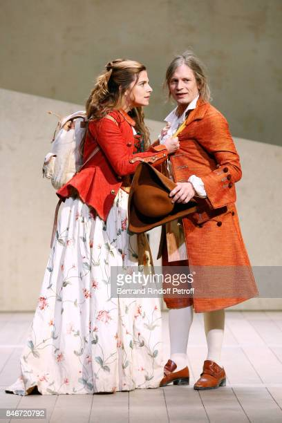 Margaux Van Den Plas and Thibault Lacroix perform in 'Les Jumeaux Venitiens' Press Theater Play at Theatre Hebertot on September 6 2017 in Paris...