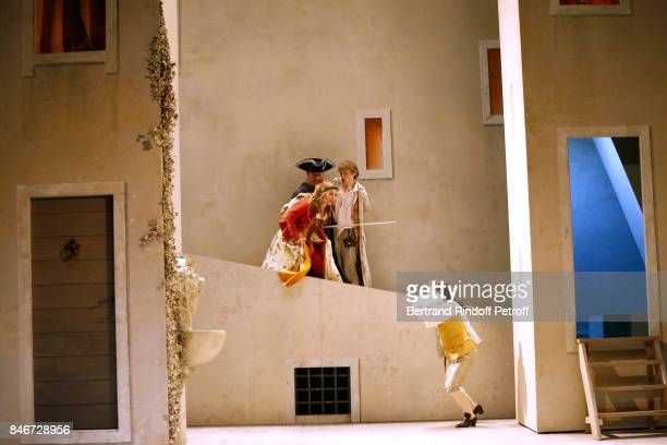 Margaux Van Den Plas Benjamin Jungers and Maxime d'Aboville perform in 'Les Jumeaux Venitiens' Press Theater Play at Theatre Hebertot on September 6...