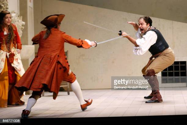 Margaux Van Den Plas Thibault Lacroix and Adrien GambaGontard perform in 'Les Jumeaux Venitiens' Press Theater Play at Theatre Hebertot on September...