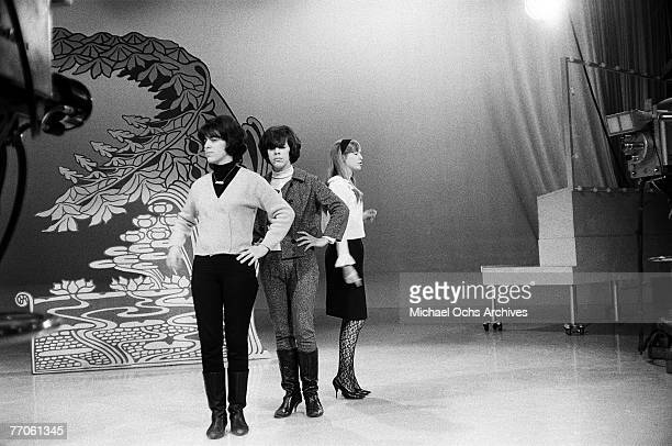 Marge and Mary Ann Ganser and Mary Weiss of the ShangriLas rehearse for 'Hullabaloo' at NBC's Studio 8H on February 9 in New York New York