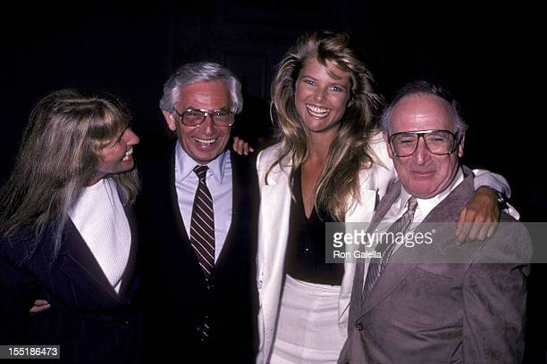 Marge Brinkley Russ Togs Inc executive Harvey Rosenzweig model Christie Brinkley and father Don Brinkley attend the press luncheon to announce the...