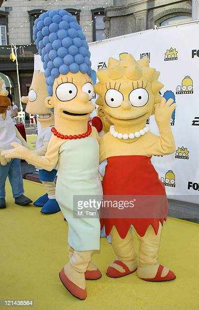 Marge Simpson and Lisa Simpson during The Simpsons 400th Episode Block Party at The FOX Lot New York Street in Los Angeles California United States