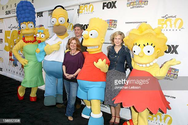 Marge Simpson Maggie Simpson Homer Simpson Al Jean Nancy Cartwright Bart Simpson Yeardley Smith and Lisa Simpson attend the The Simpsons 500th...