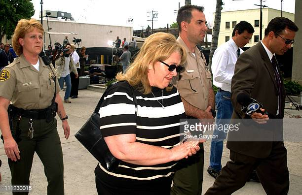 Margerry Bakley sister of Bonny Lee Bakley answers questions for reporters outside the Van Nuys courthouse May 1 2002
