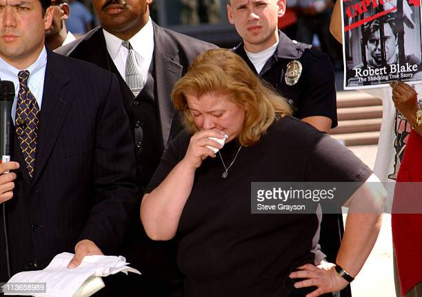 Margerry Bakley, sister of Bonny Lee Bakley, breaks down as she gives an interview to CNN outside Van Nuys Superior Court after the arraignment of...
