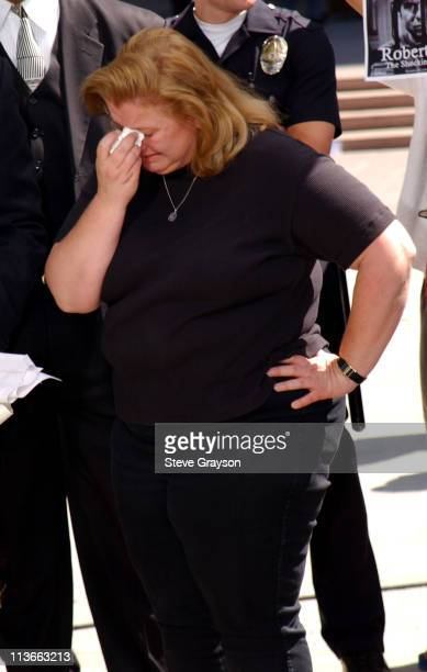Margerry Bakley sister of Bonny Lee Bakley breaks down as she gives an interview to CNN outside Van Nuys Superior Court after the arraignment of...