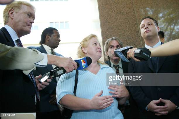 Margerry Bakley the sister of the late Bonny Lee Bakley talks to the media after a hearing in the custody case for the child of actor Robert Blake at...