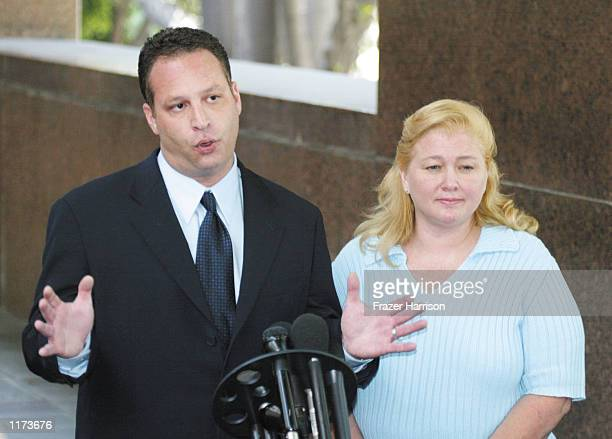 Margerry Bakley the sister of the late Bonny Lee Bakley talks to the media with her attorney Eric J Dublin after a hearing in the custody case for...