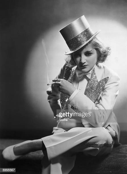Margery Binner dressed as Marlene Dietrich in 'Blonde Venus' for a pageant of Film Memories to be held in aid of the Princess Beatrice Hospital