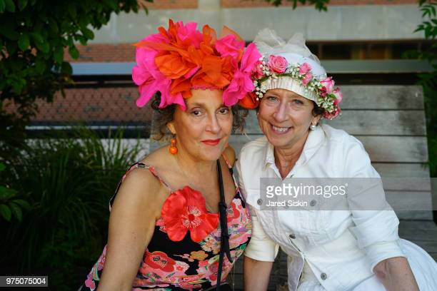 Margery Newman and guest attend the 2018 High Line Hat Party at the The High Line on June 14 2018 in New York City