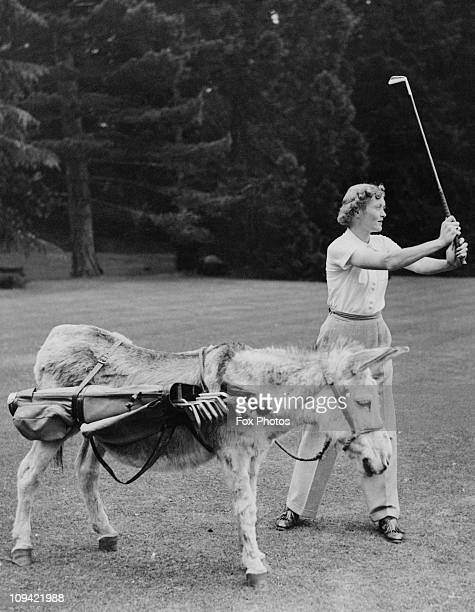 Margery Waddell plays a round of golf at her home near Theale Berkshire with the help of her caddy Charles a 60 year old donkey 17th July 1939...