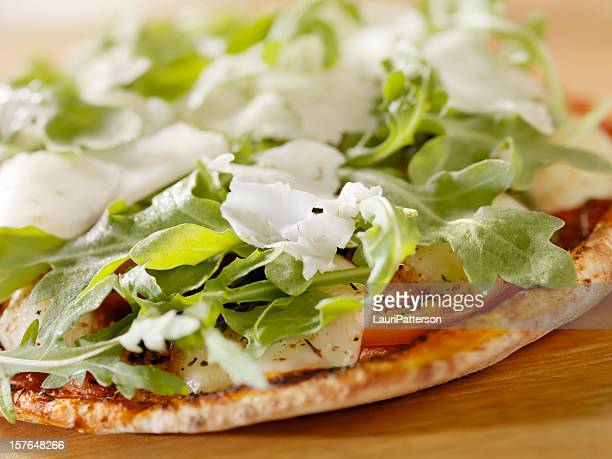 Margharita Pizza with Arugula on Flat Bread