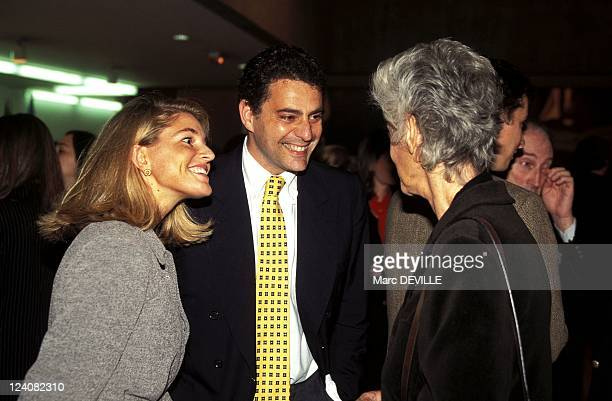 Margherita Agnelli's paintings exhibition at UNESCO In Paris France On October 10 1996 With Giovannino Agnelli and Avery Howe