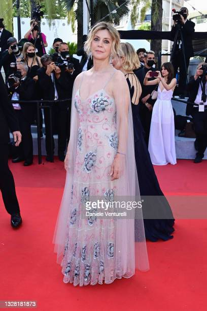 """Margherita Buy attends the """"Tre Piani """" screening during the 74th annual Cannes Film Festival on July 11, 2021 in Cannes, France."""