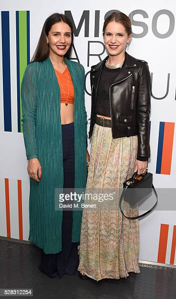 Margherita Maccapani Missoni and Eugenie Niarchos attend the 'Missoni Art Colour' private view and dinner in partnership with Woolmark at The Fashion...