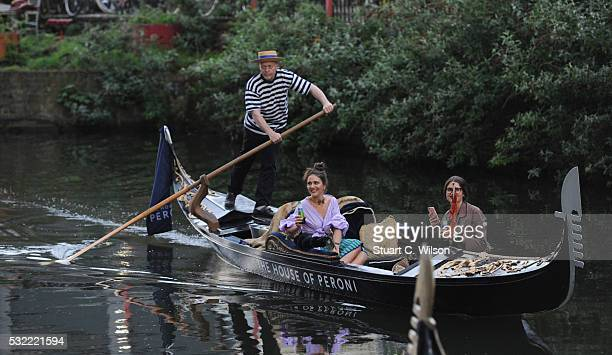 Margherita Maccapani Missoni arrives by Gondola for the launch of The House of Peroni Residency at Proud East in Haggerston on May 18 2016 in London...